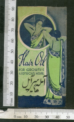 India 1950's Women Hair Oil Printed Vintage Label # LBL145