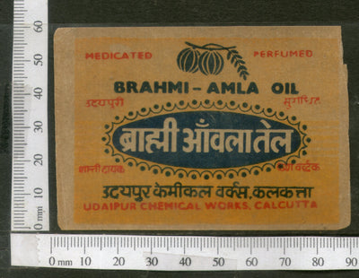 India 1950's Brahmi Amla Hair Oil Printed Vintage Label # LBL150