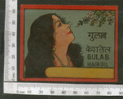 India 1950's Women Rose Gulab Hair Oil Printed Vintage Label # LBL156