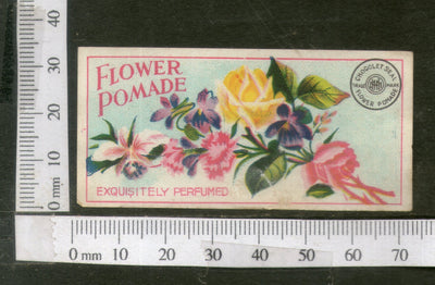 India 1950's Rose Flowers Printed Vintage Perfume Label  # LBL158