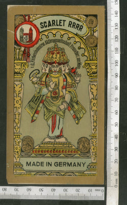 India 1960's Hindu Goddess Brand Dyeing & Chemical Germany Print Vintage Label # L25 - Phil India Stamps