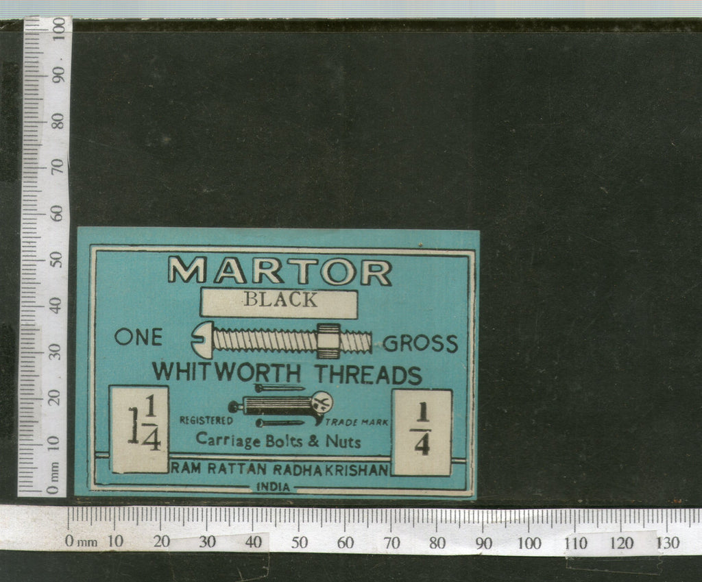 India 1960's Martor Brand Carriage Bolts & Nuts Tools Print Label # L2 - Phil India Stamps