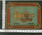 India 1960's Bugle Musical Instrument Brand Dyeing & Chemical Germany Print Vintage Label # L33 - Phil India Stamps