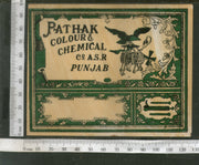 India 1960's Bird Eagle Machine Brand Dyeing & Chemical Vintage Label # L38 - Phil India Stamps