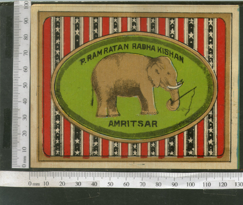 India 1960's Elephant Wildlife Brand Dyeing & Chemical Germany Print Label # L3 - Phil India Stamps