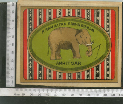 India 1960's Elephant Wildlife Brand Dyeing & Chemical Germany Print Vintage Label # L41 - Phil India Stamps