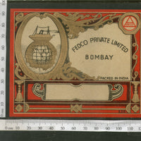 India 1960's Fedco Globe Ship Brand Dyeing & Chemical Germany Print Vintage Label # L43 - Phil India Stamps
