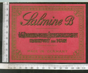 India 1960's Galmine-B Brand Dyeing & Chemical Vintage Label Germany Printed # L46 - Phil India Stamps