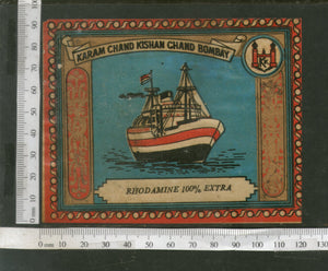 India 1960's Steam Ship Brand Dyeing & Chemical Germany Print Vintage Label # L53 - Phil India Stamps
