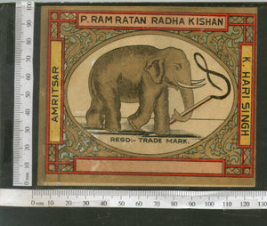 India 1960's Elephant Wildlife Brand Dyeing & Chemical Germany Print Label # L5 - Phil India Stamps