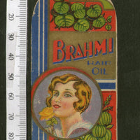 India Vintage Trade Label Brahmi Essential hair Oil Label Women # LBL65 - Phil India Stamps