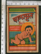 India Vintage Trade Label Balamrit Ayurvedic Medicine Health Syrup # LBL72 - Phil India Stamps
