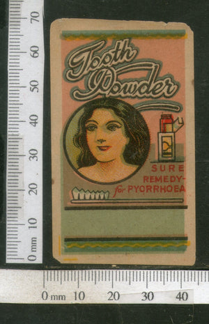India Vintage Trade Label Pyorrhoea Tooth Powder Label Women Dental # LBL77 - Phil India Stamps