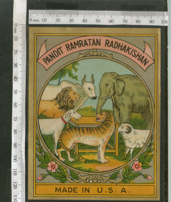 India 1960's Elephant Lion Dog Brand Dyeing & Chemical Germany Print Label # L7 - Phil India Stamps