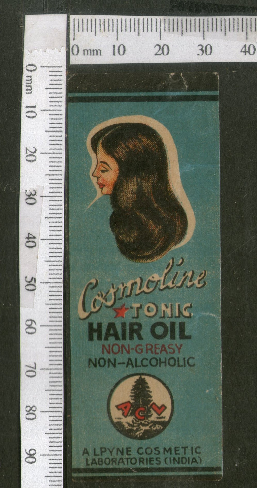 India Vintage Trade Label Cosmoline Essential hair Oil Label Women # LBL80 - Phil India Stamps