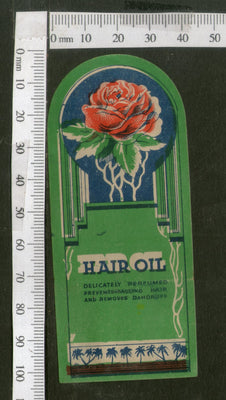 India Vintage Trade Label Rose Essential Hair Oil Label Flower # LBL84 - Phil India Stamps