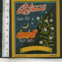 India Vintage Trade Label Ratrani Essential hair Oil Label Moon # LBL85 - Phil India Stamps