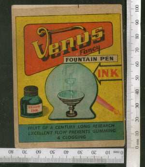 India Vintage Trade Label Venus Fountain Pen Ink Label Rare # LBL99 - Phil India Stamps