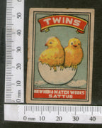 India 1950's Bird Twins Chicken Brand Match Box Label Animal # MBL104 - Phil India Stamps
