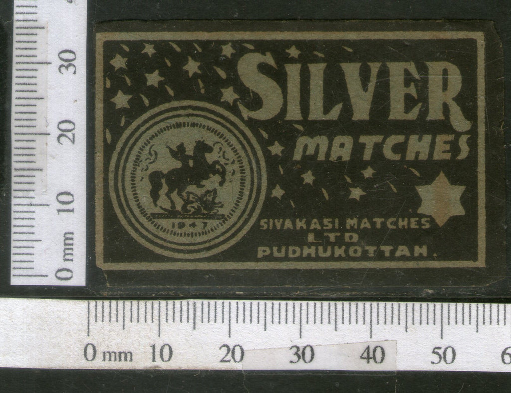 India 1950's Silver Horse Brand Match Box Label # MBL117 - Phil India Stamps