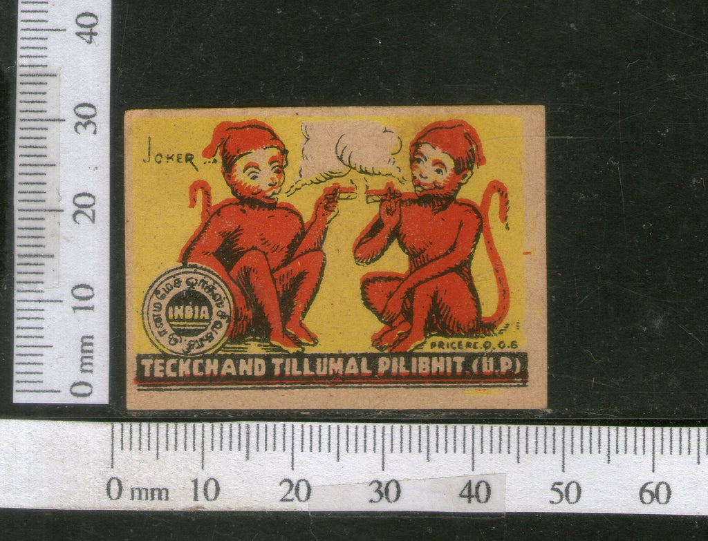 India 1950's Two Monkey Jokers Smoking Brand Match Box Label # MBL118 - Phil India Stamps