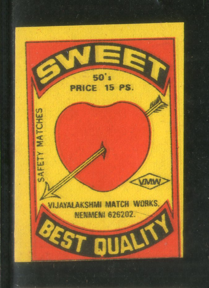 India SWEET Love Arrow Safety Match Box Label # MBL129 - Phil India Stamps