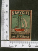 India 1950's Ship Navycut Brand Match Box Label # MBL130 - Phil India Stamps