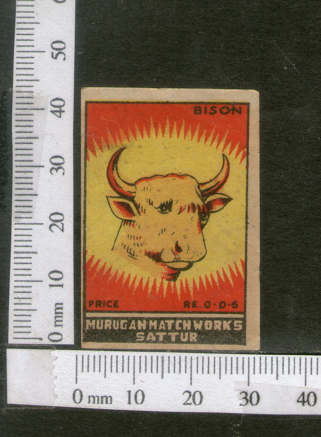 India 1950's Bison Brand Match Box Label Wildlife Animal # MBL131 - Phil India Stamps
