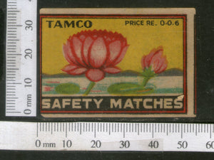India 1950's Lotus Flower Flora Tamco Brand Match Box Label # MBL132 - Phil India Stamps