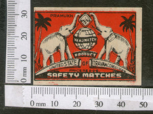 India 1950's Elephant Map Globe Brand Match Box Label Wildlife Animal # MBL160 - Phil India Stamps
