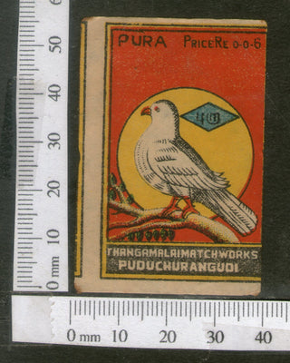 India 1950's Bird Dove Brand Match Box Label Animal # MBL172 - Phil India Stamps
