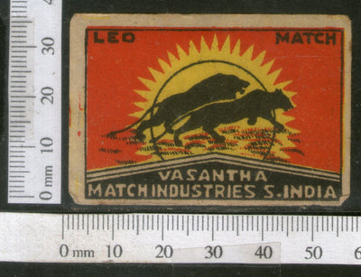 India 1950's Leo Brand Match Box Label Wildlife Animal Lion # MBL187 - Phil India Stamps