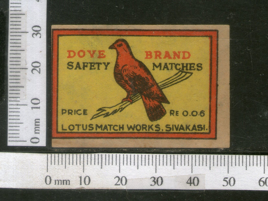 India 1950's Bird Dove Brand Match Box Label Animal # MBL018 - Phil India Stamps