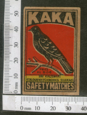 India 1950's Bird Crow Brand Match Box Label Animal # MBL194 - Phil India Stamps