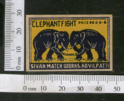 India 1950's Elephant Fight Brand Match Box Label Wildlife Animal # MBL197 - Phil India Stamps