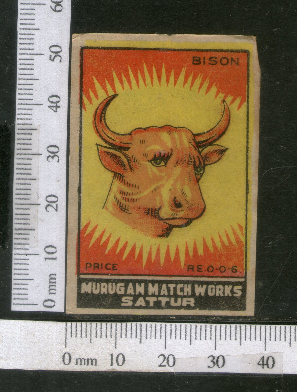 India 1950's Bison Brand Match Box Label Wildlife Animal # MBL215 - Phil India Stamps