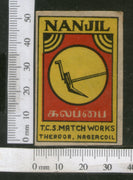 India 1950's NANJIL Plow Brand Match Box Label Agriculture Instrument # MBL219 - Phil India Stamps