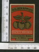 India 1950's Golden Apples Fruit Brand Match Box Label # MBL221 - Phil India Stamps