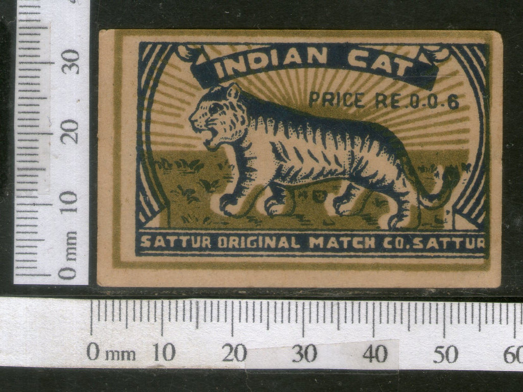 India 1950's Indian Cat Tiger Brand Match Box Label Wildlife Animal # MBL230 - Phil India Stamps