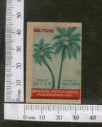 India 1950's Coconut Tree Kalpaka Brand Match Box Label # MBL240 - Phil India Stamps