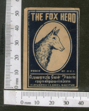 India 1950's The Fox Head Brand Match Box Label Wildlife Animal # MBL255 - Phil India Stamps