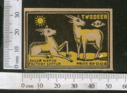 India 1950's Two Deer Brand Match Box Label Wildlife Animal # MBL02 - Phil India Stamps
