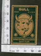 India 1950's Bull Brand Match Box Label Wildlife Animal # MBL038 - Phil India Stamps