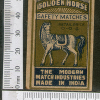 India 1950's Golden Horse Brand Match Box Label Wildlife Animal # MBL054 - Phil India Stamps