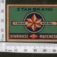 India 1950's Star Brand Match Box Label # MBL057 - Phil India Stamps