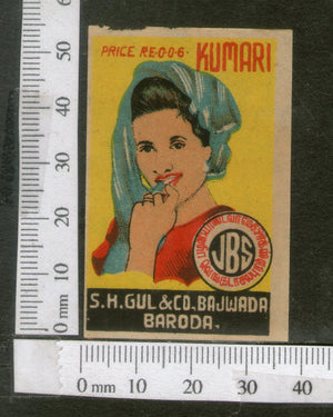 India 1950's Young Women Lady Kumari Brand Match Box Label # MBL066 - Phil India Stamps