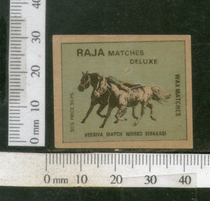 India Two Horses Animals Safety Match Box Label # MBL073 - Phil India Stamps