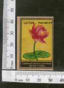 India 1950's Lotus Flower Flora Brand Match Box Label # MBL088 - Phil India Stamps