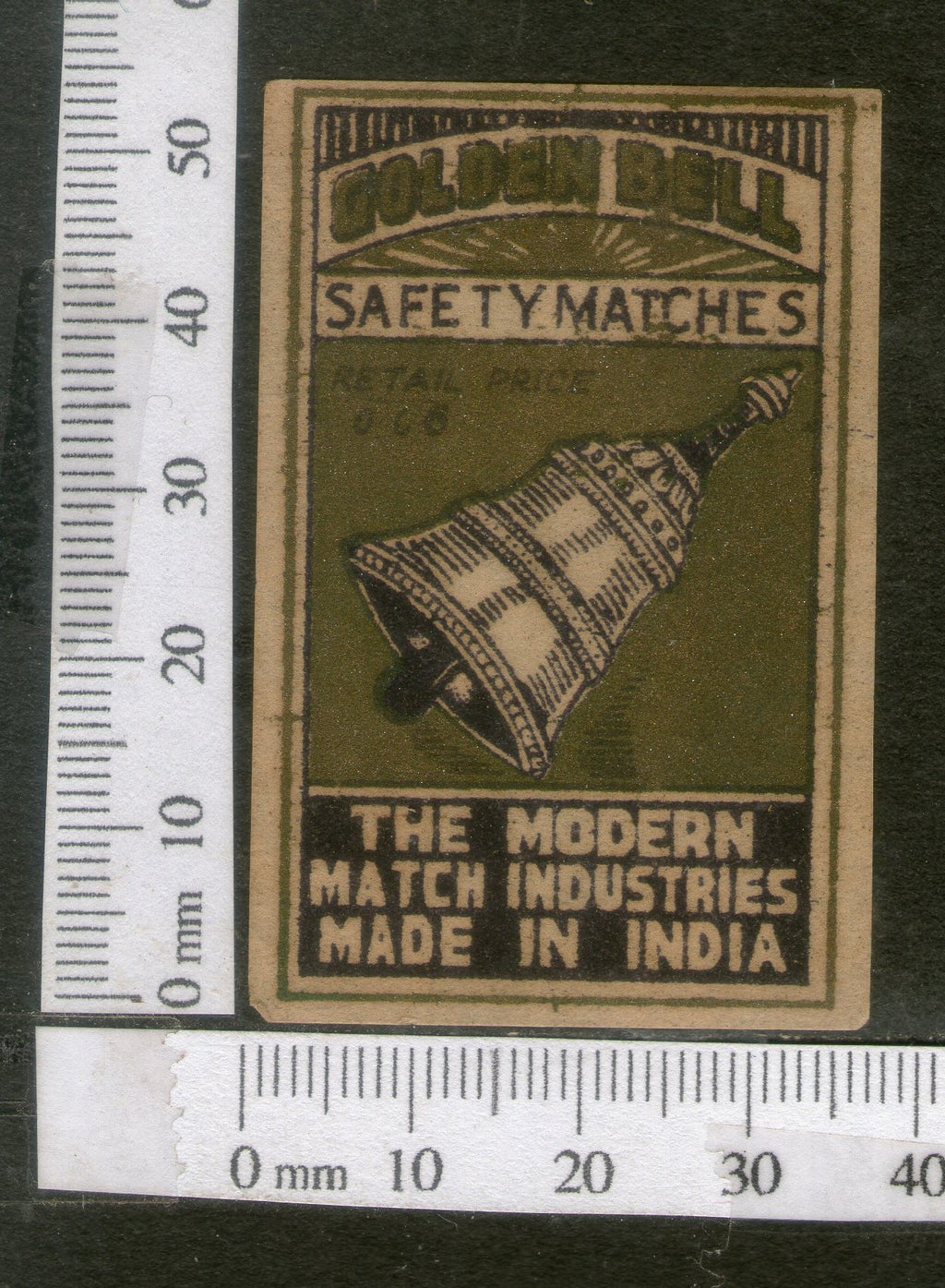 India 1950's Golden Bell Brand Match Box Label # MBL093 - Phil India Stamps