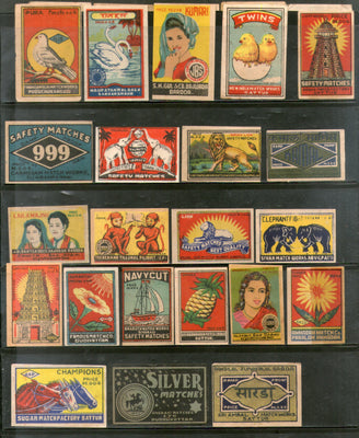 India 1950's 22 Different Match Box Labels Elephant Bird Lion Flower Ship Animal - Phil India Stamps